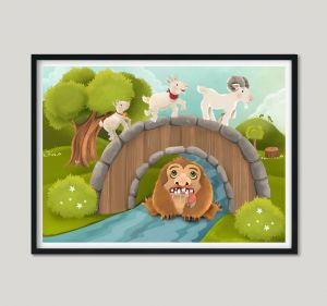 Børneplakat - Bukke Bruse og de tre trolde - 30 x 40 cm 99-4070